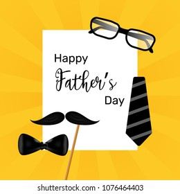 happy fathers day and glasses, mustache and bow tie forming a man face in a beige background, with a retro effect. father's day concept template design and illustration.