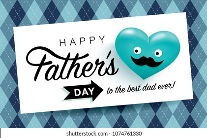 Happy Father's Day greeting card with funny heart face mustache and repeating pattern background
