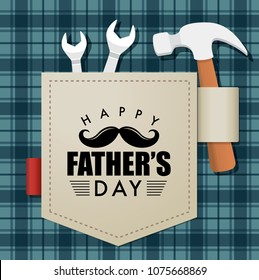 Happy fathers day greeting card with typography design on an pocket and some repair tools