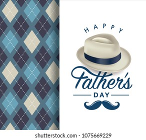 Happy fathers day greeting card with typography design, hat, moustache and repeating pattern background