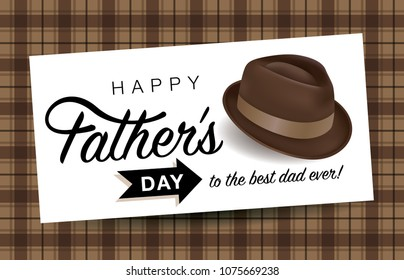 Happy fathers day greeting card with typography design, hat and repeating pattern background