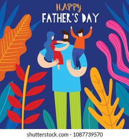 Happy Father's Day greeting card. Vector illustration of a flat design - stock vector