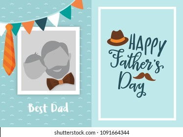 Happy father's day greeting card design, with photo frame for uploading picture, photo. Vector background with bow tie, hat, mustache, and glasses. Father's day lettering calligraphic emblem