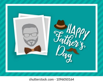 Happy father's day greeting card design, with photo frame for uploading picture, photo. Vector background with bow tie, hat, and mustache. Father's day lettering calligraphic emblem