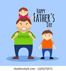Happy Father's Day greeting card, dad with children. Vector illustration.
