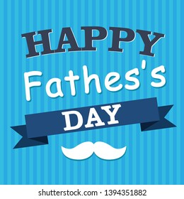 Happy Fathers Day greeting card design for men s event, banner or poster. Striped background with paper cut mustache and glasses. Congratulation text on the blue ribbon. Vector illustration