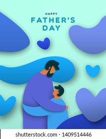 Happy Father's Day greeting card illustration of family hug in paper cut style. Dad and son love concept for special fathers holiday.