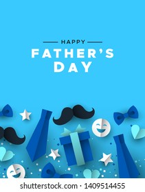Happy Father's Day greeting card for special dad holiday. 3D paper cut icons of tie, mustache, gift and more on blue color background.