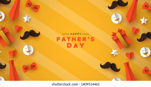 Happy Father's Day greeting card for special dad holiday. 3D paper cut icons of tie, mustache, gift and more on orange color background.