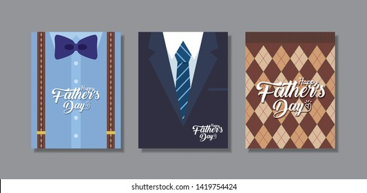 Happy Father's Day greeting card template design. Set of men fashion (bow tie, suspenders, suit, tie & sweater) in flat vector design.