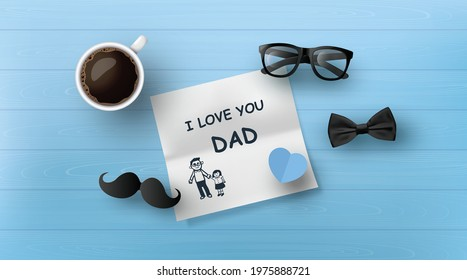 Happy Father's Day greeting card , poster or banner with icon decoration. Includes mustache, neck tie,glasses.paper cut style