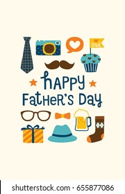 Happy father's day greeting card or postcard with cute icons and design elements collection, mustache, bow, tie, glasses, hat, camera, gift box and sock. Flat design. Vector illustration.