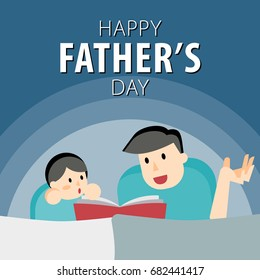 Happy Father's Day. Fathers day greeting card. Dad reading with his child. All in a single layer. Vector illustration.