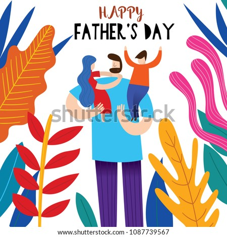 Happy fathers day greeting card vector stock vector royalty free happy fathers day greeting card vector illustration of a flat design stock vector m4hsunfo