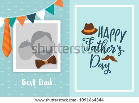 Happy Fathers Day Greeting Card Design With Photo Frame For Uploading Picture