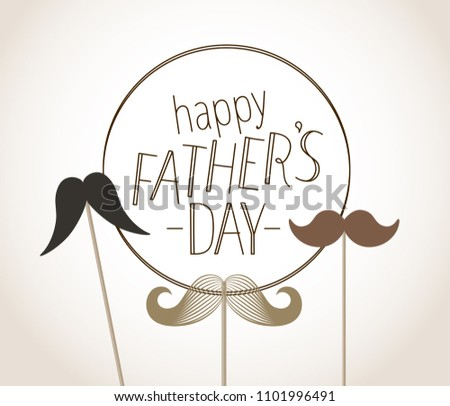 Happy Fathers Day Greeting Card Mustache Stock Vector Royalty Free