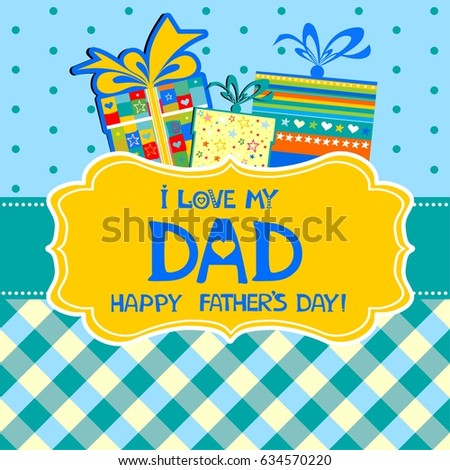 Happy fathers day greeting card celebration stock vector royalty happy fathers day greeting card celebration background with gift boxes tag label and m4hsunfo