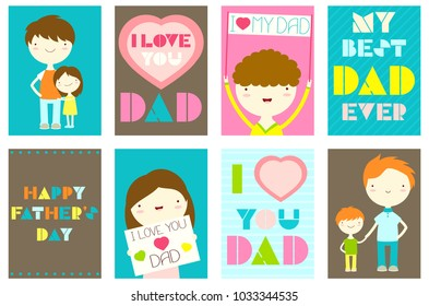 Happy Father's day greeting cards set. Collection of banner, background, flyer, placard with cute dad, girl and boy. Vector template sticker for Father's day greeting, decoration, congratulation. EPS