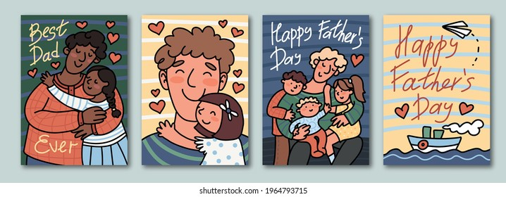 Happy Father's Day greeting cards set. Cute vector hand drawn illustration in cartoon style. Multinational characters.