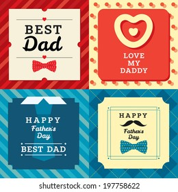 Happy father's day greeting cards set with pattern. Stylish vector modern illustration and design element