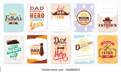 Happy fathers day greeting cards set. Vector typography, lettering. Usable for banners, print. You are the best dad, text design