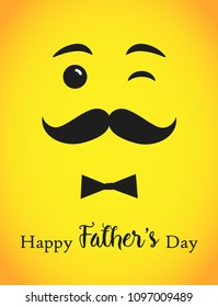Happy father`s day greetings. Happy Fathers Day calligraphy isolated congrats standard a4 215 x 280 size. Bow tie elements yellow background