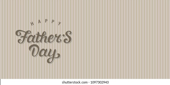 Happy fathers day hand drawn lettering emblem. Happy father's day text design. Template design for festive card. Monochrome vector illustration.