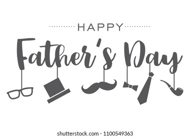 Happy Fathers Day, Hand drawn lettering and icons.