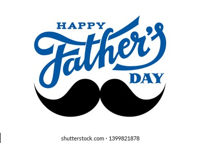 Happy Fathers Day. Hand drawn lettering with mustache. RGB Global colors
