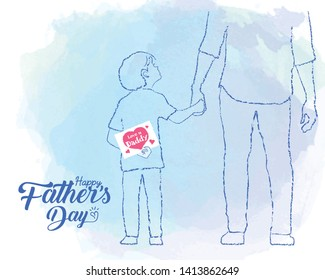 """Happy Father's Day. Hand drawn cartoon son holding father's hand with a card written text """"Love you daddy"""" in line art style on blue watercolor background."""