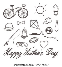 Happy Father's Day hand-drawn illustration isolated on white background with text. Set of hand drawn doodle drawings.