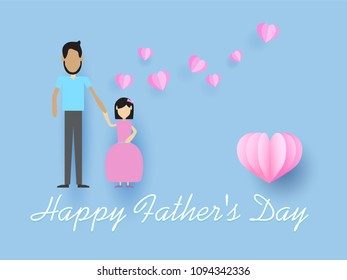 Happy Father's Day, heart in the sky,  paper art style