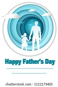 Happy father's day. Holiday card for dad, vector for print and web.A man and a child in a circle.