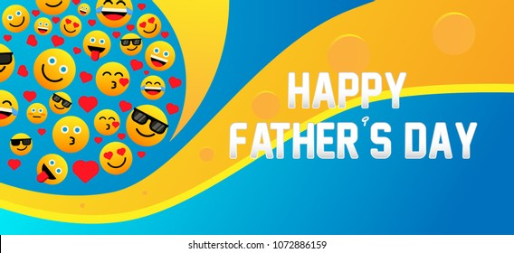 happy father's day label with emoji or emoticon for greeting card or poster