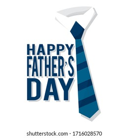 Happy fathers day label. Tie on a shirt collar - Vector