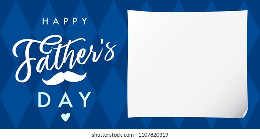 Happy father`s day lettering navy blue banner. Happy Fathers Day calligraphy and mustache on blue background, vector illustration