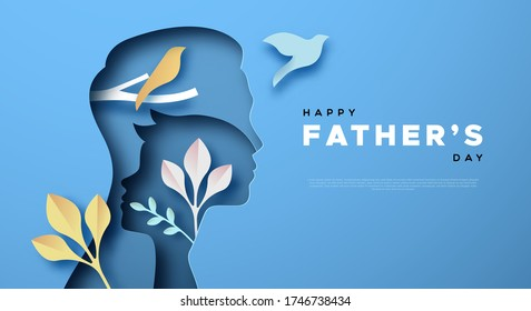 Happy Father's Day paper cut card template background of dad with child son and colorful plant nature. Modern 3D papercut decoration for father gift or family holiday celebration.