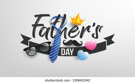 Happy Father's Day with paper mustache,king crown,necktie and glasses.Greetings and presents for Father's Day.Vector illustration EPS10
