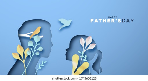 Happy Father's Day papercut greeting card illustration of father, girl daughter. Dad and kid cutout in realistic 3D style with nature leaf paper craft decoration. Special family holiday design.