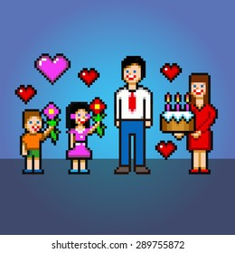happy fathers day pixel art style vector layers illustration