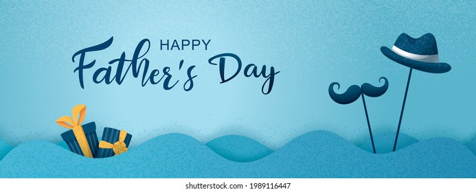 Happy Father's Day poster and banner template with cute illustration on blue background. Vector illustration for greeting card, shop, invitation, discount, sale, flyer, decoration.
