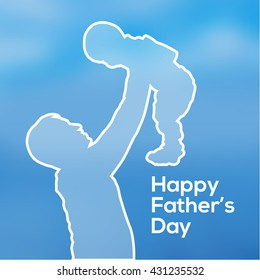 Happy Father's Day poster or banner. Father holding his son. Silhouette. Vector lllustration