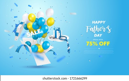 Happy Father's Day Sale banner or Promotion on blue background. Surprise box open with yellow, white and blue ballon. Vector illustration.
