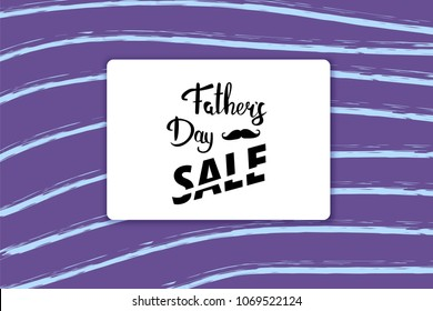 Happy Father's Day Sale card. Handwritten lettering.  Vector Illustration.