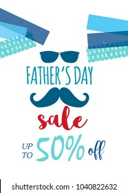 Happy Father's Day sale. Vector illustration for promotion, poster, flyer, discount card, shopping template, price label, blog, social media, marketing, ad, special offer banner.