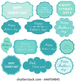 Happy Father's Day! Set Retro mint Tag. Vector Illustration