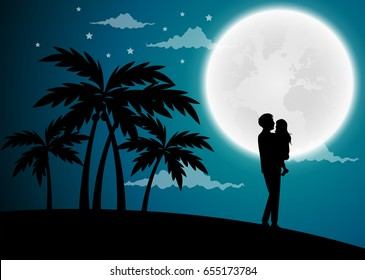 Happy Father's Day, silhouette of a father holding Daughter. Vector illustration