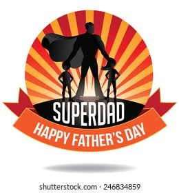 Happy Fathers Day Superdad burst EPS 10 vector royalty free stock illustration