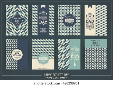 Happy Father's Day templates In Retro Style. Vector illustrations.
