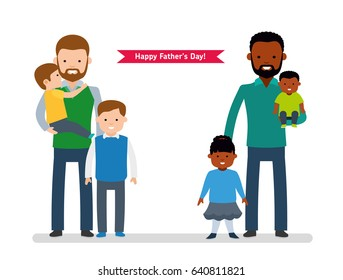 Happy Father's Day. Two happy father with children, single dad European, the other dad is African American. Happy cute family. Vector illustration in cartoon flat style